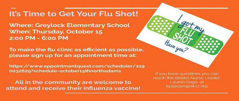 Flu Clinic to be held October 15th for all community members. Please schedule your appointment in advance. Featured Photo