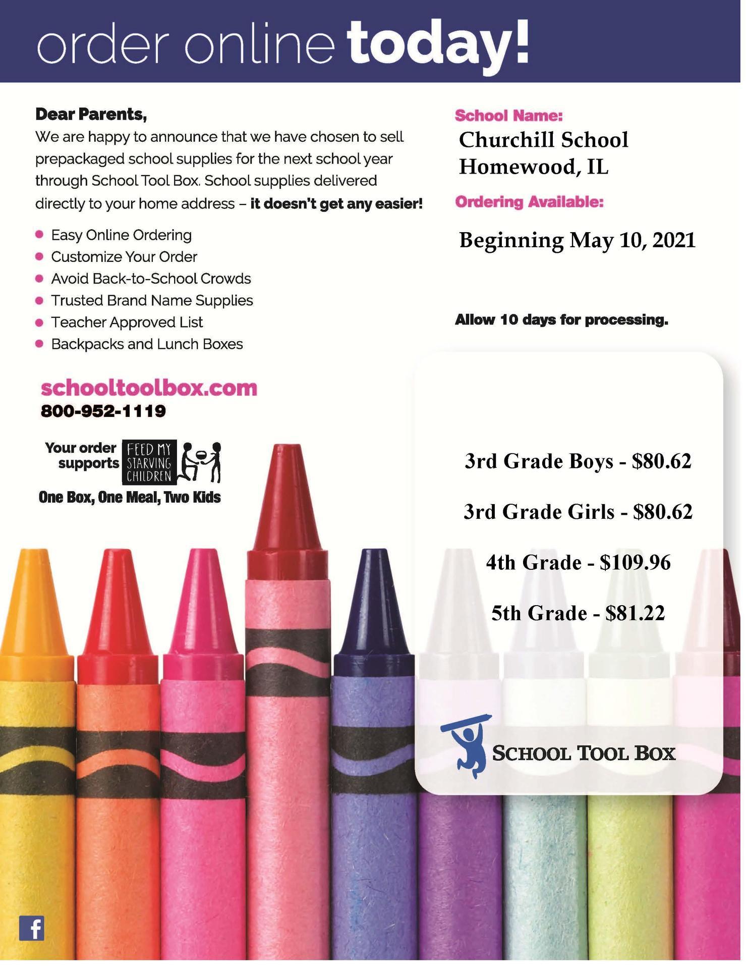 Churchill school supply kit info