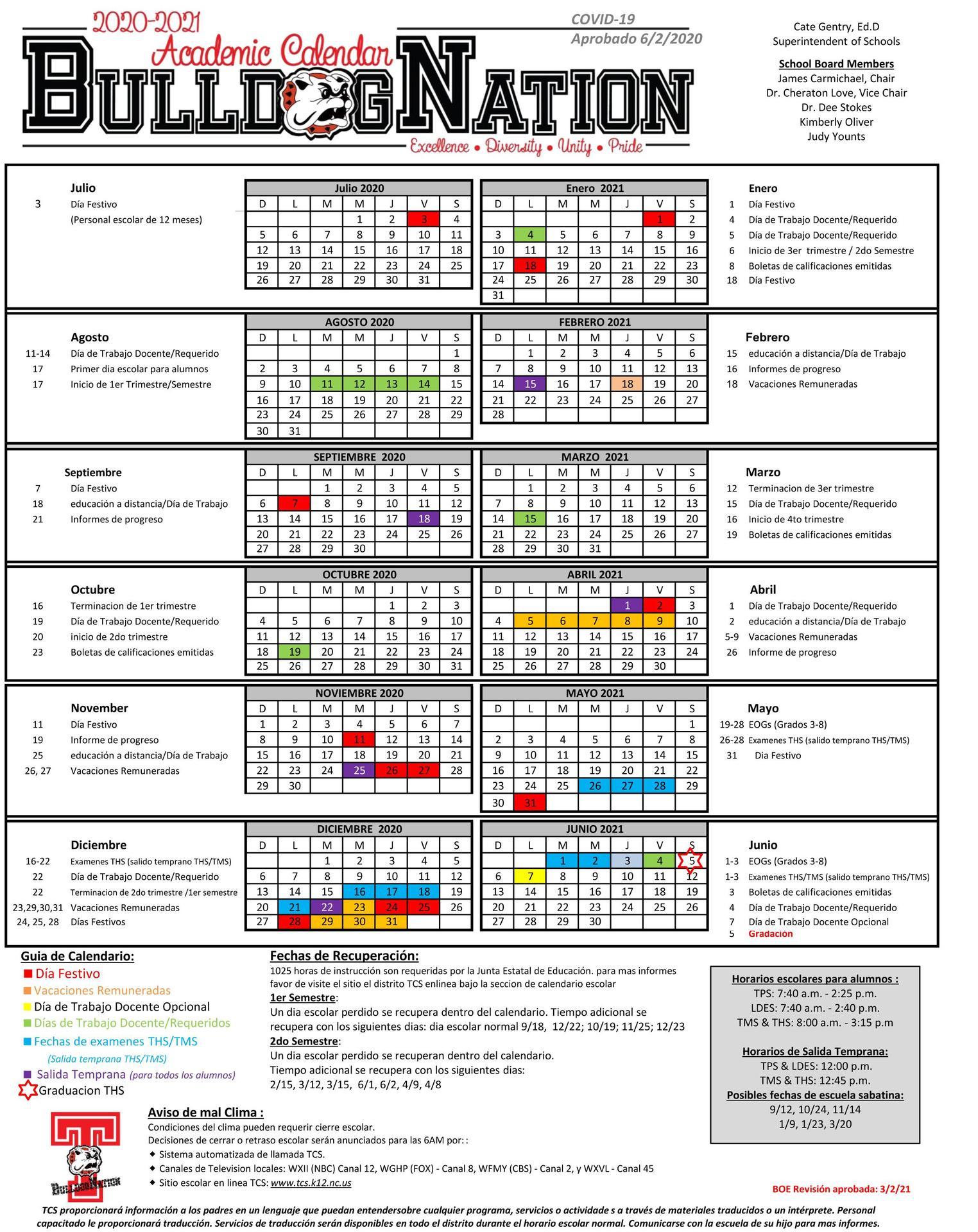 2020-2021 Calendar Spanish