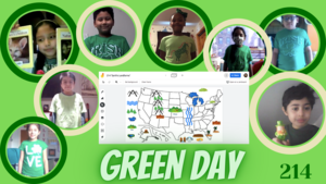 Students wearing green collage