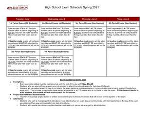 Spring 2021 Exam Schedule