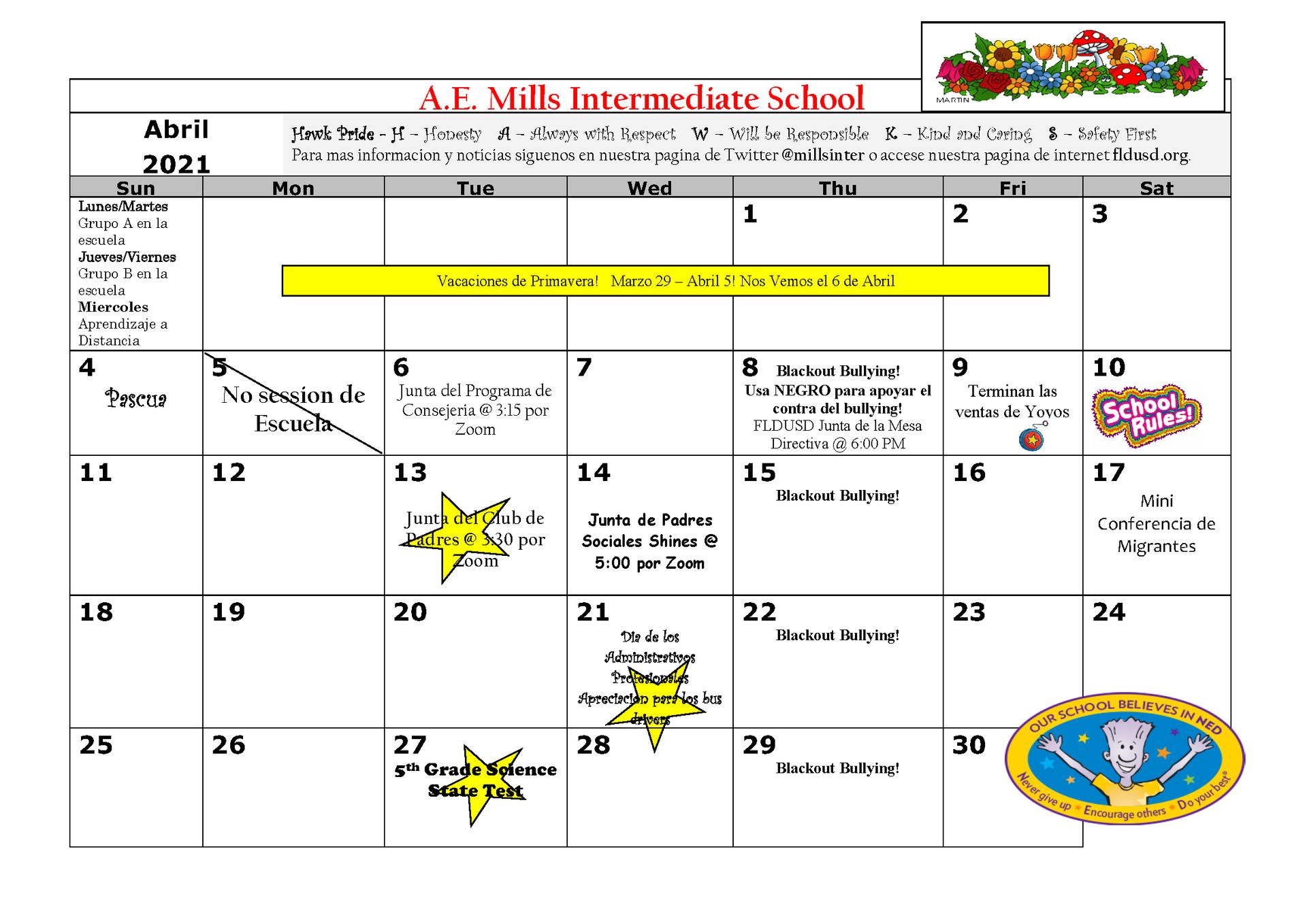 April Calendar Spanish