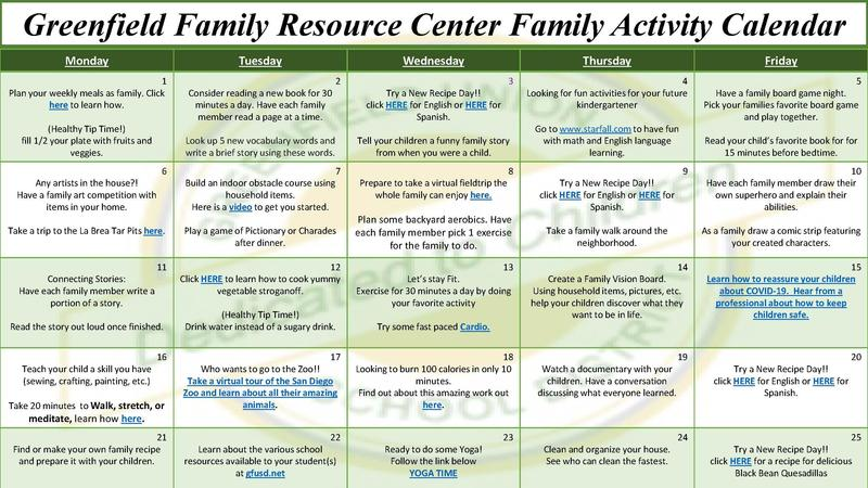 Greenfield Family Resource Center Family Activity Calendar