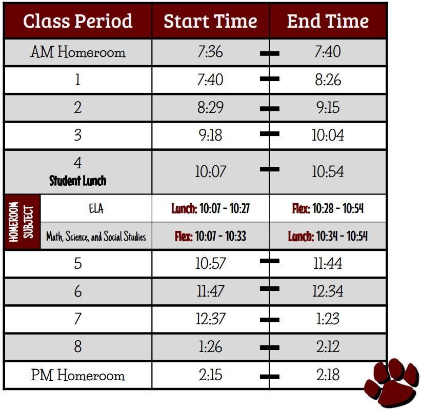 7th Grade Schedule