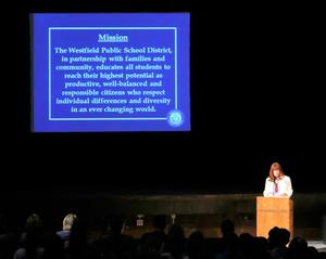 Superintendent Dr. Margaret Dolan welcomes back staff for the 2018-2019 school year.