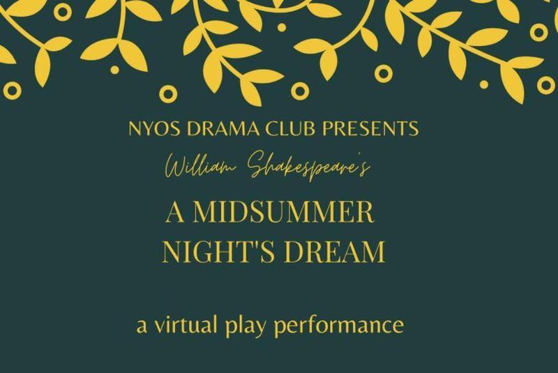 Dark green flyer with dark yellow flowers for A Midsummer Night's Dream