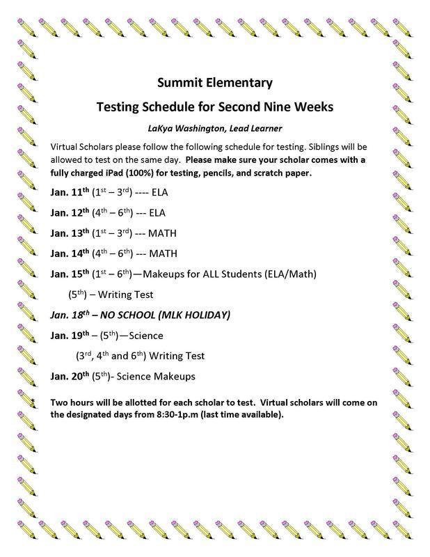 2nd 9 weeks testing schedule