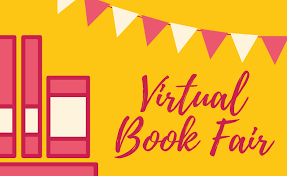 Virtual Book Fair with books and a banner