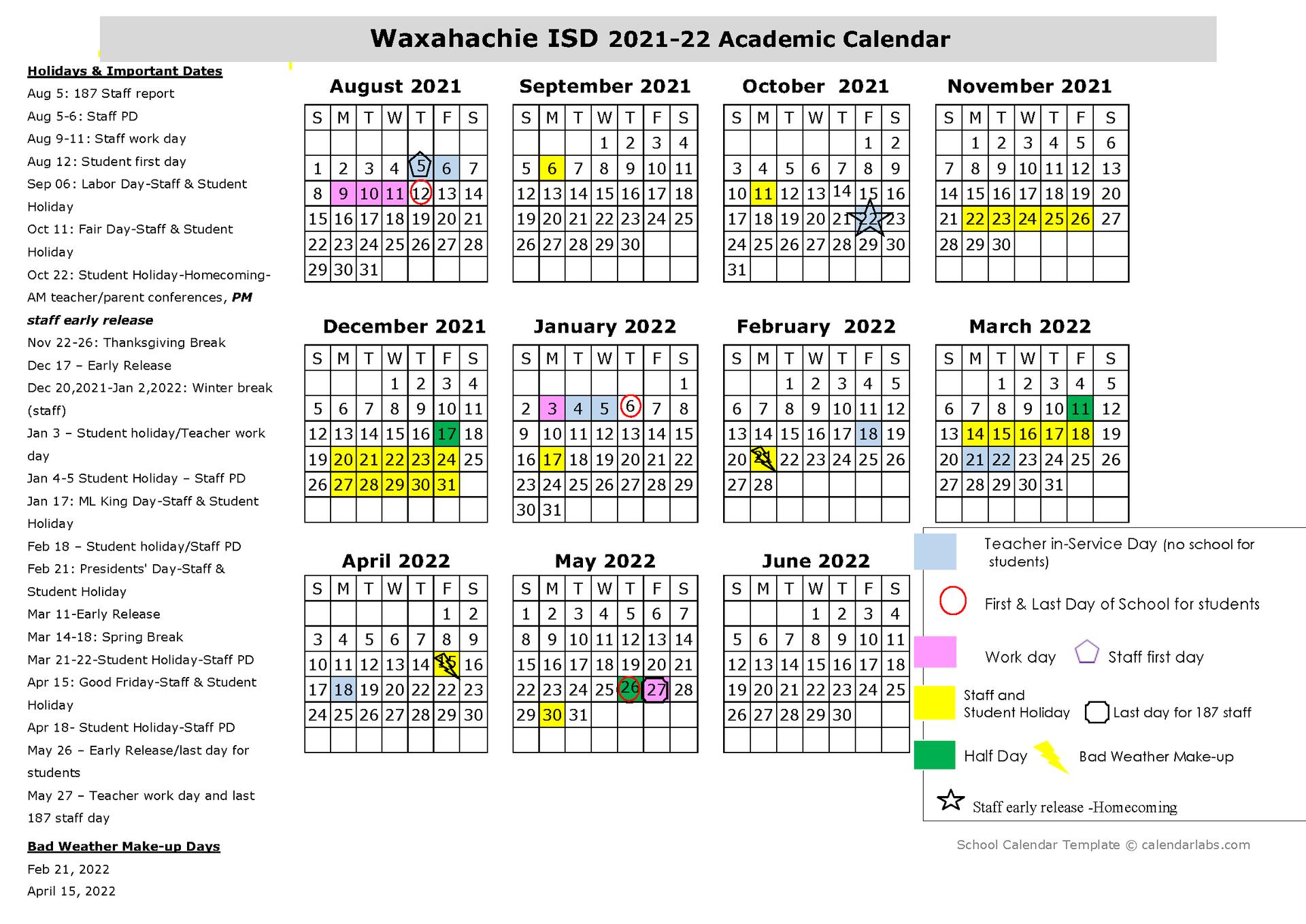 WISD school calendar for 2021-22