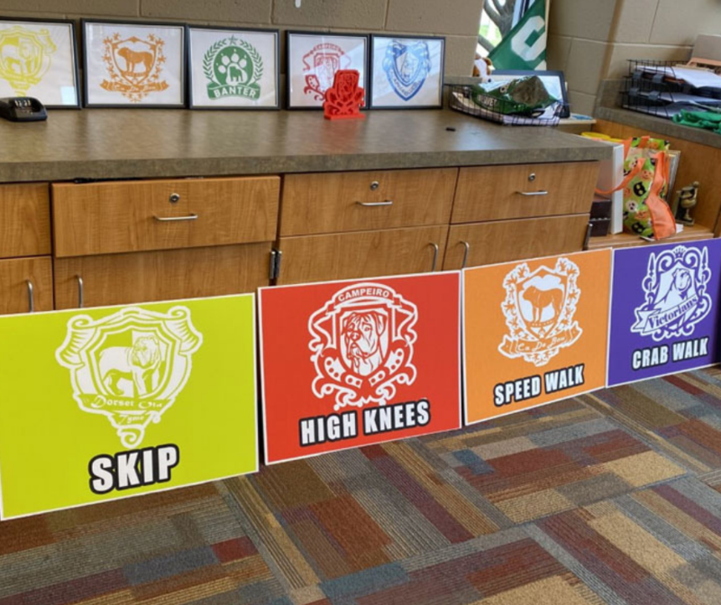 mascot flags for each house