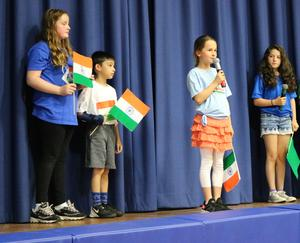 Photo of McKinley 3rd graders performing during an International Celebration.