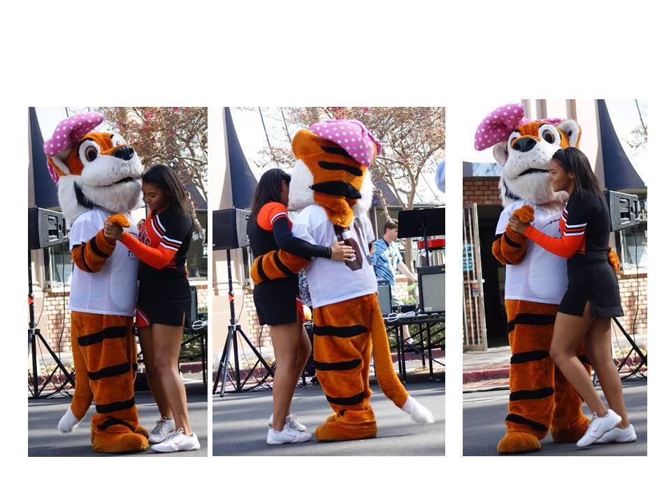San Jacinto High School Cheerleader and Mascot dancing the night away