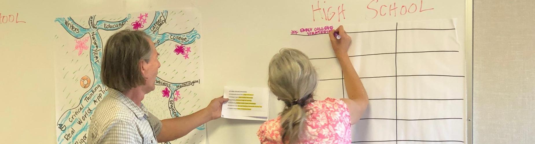 Two teachers work together to fill out a chart