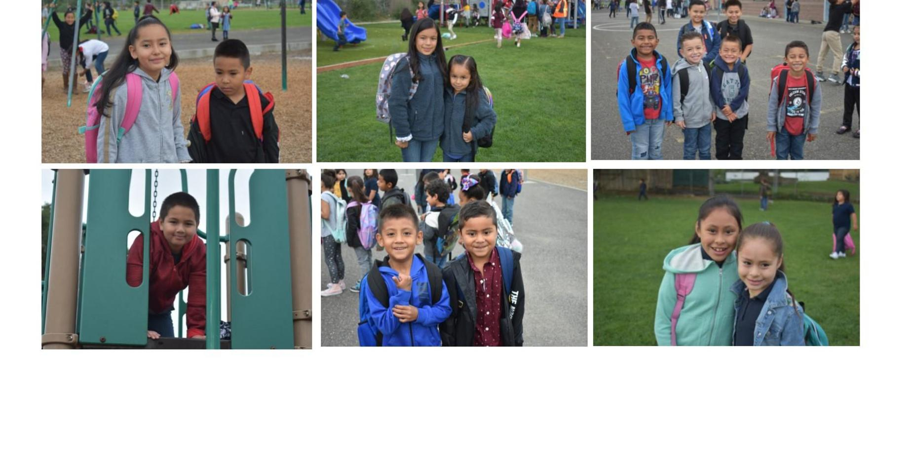 6 pictures of smiling students on the playground waiting for the bell to ring!  All smiling!