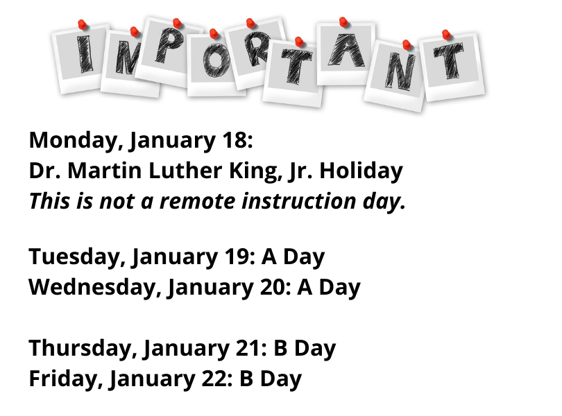 Info for week of Jan. 18th