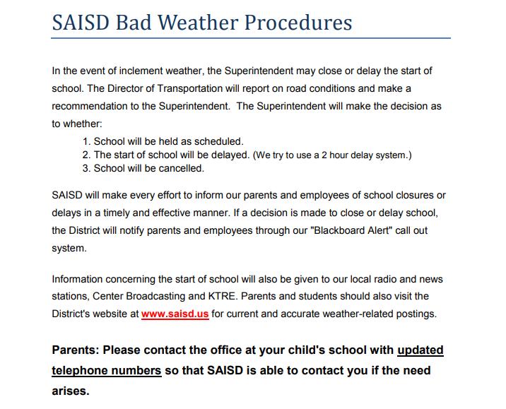 Bad Weather Procedure