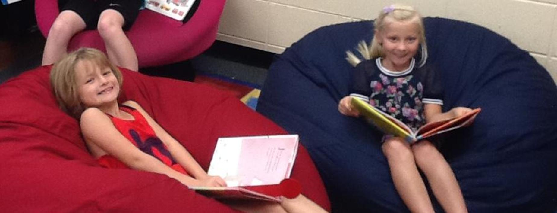 Relaxing and reading in the library
