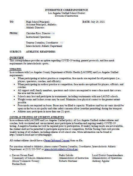 2021-22 Student Athlete Notice
