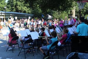 Washington School band plays for students and families as they arrive on first day of school.