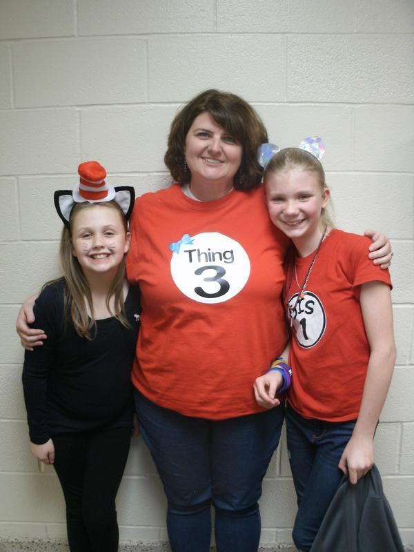 Students and teacher dressed as Dr. Seuss characters.