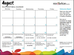 Monthly Meal Calendar for August 2018