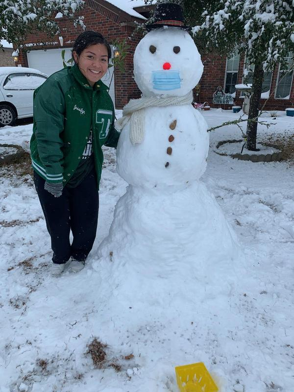 Student with snowman