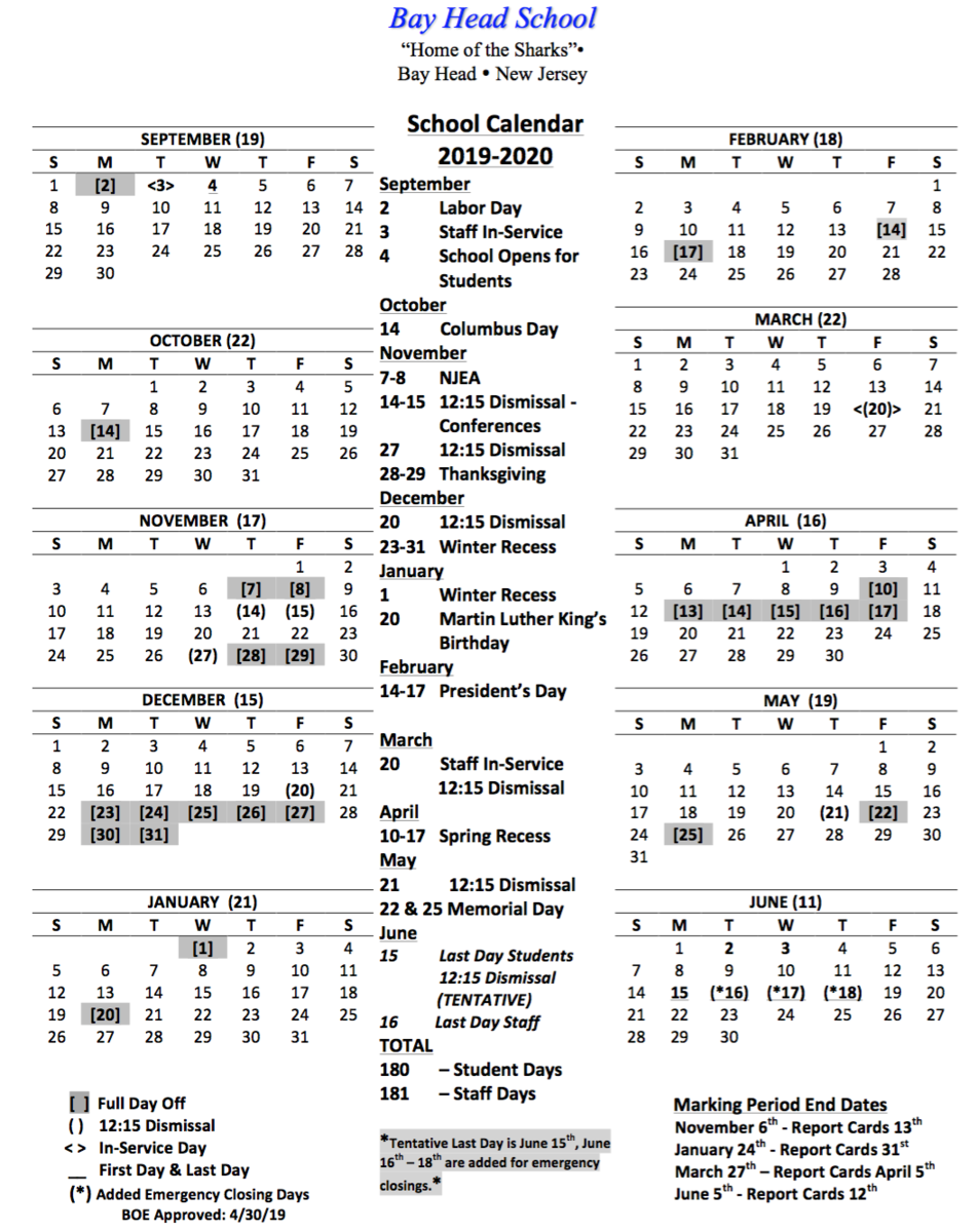 19-20 District Calendar