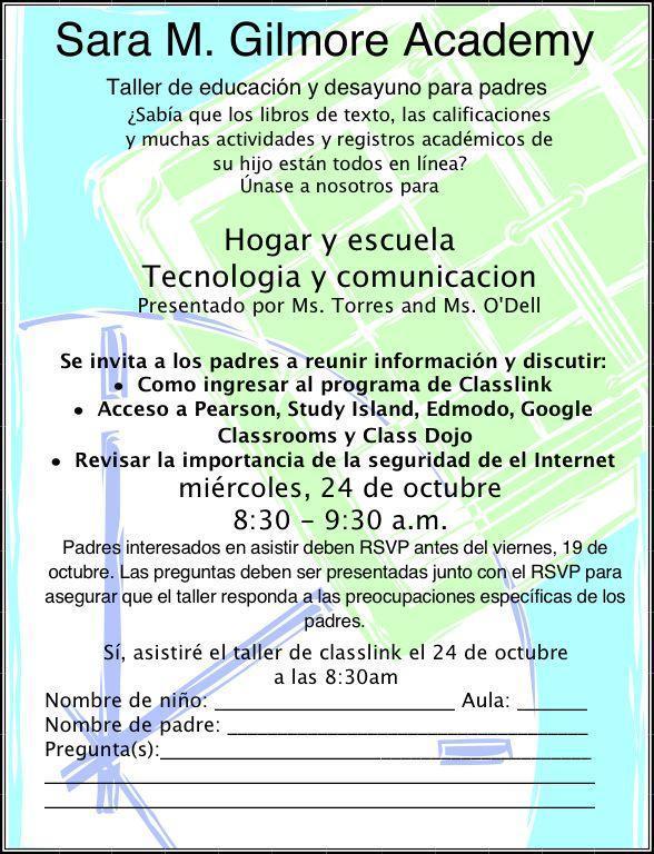 parent workshop home & technology spanish