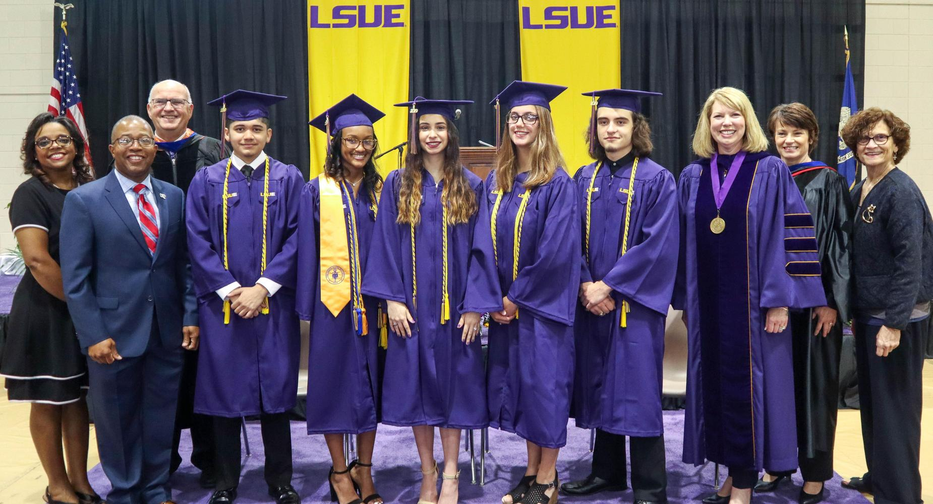 LSUE Academy Graduates - These students an earned associate degree days short of graduating from our SLP high schools.