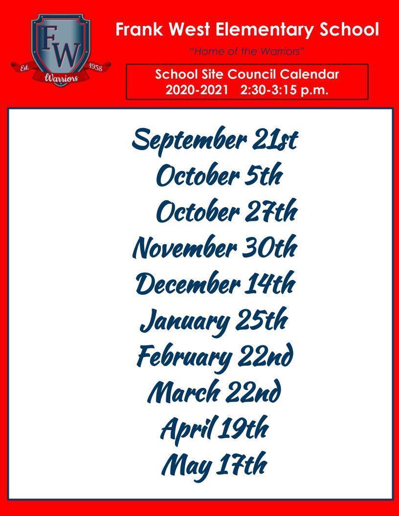 SSC MEETING DATES