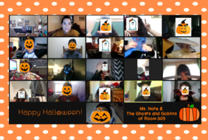 Zoom class celebrating Halloween