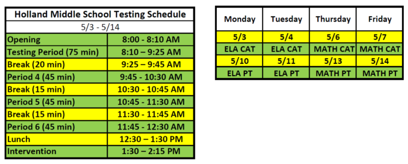 CAASPP testing schedule