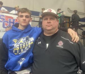 Brookland-Cayce's Terry Hilldebrand II (shown with Coach Craig Watts) placed fourth at the State Championship in the 145 weight class