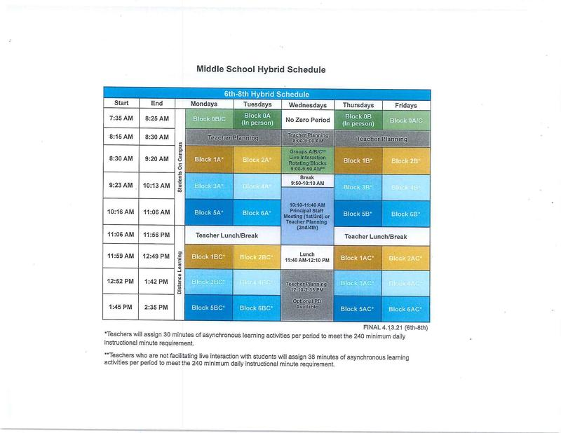 Middle School Hybrid Schedule (Click Here) Featured Photo