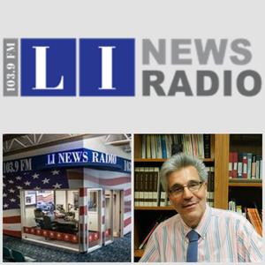 LI News Radio logo and radio host (male)