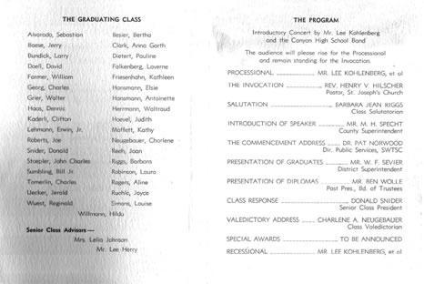 Canyon High School - 1960 Commencement Program