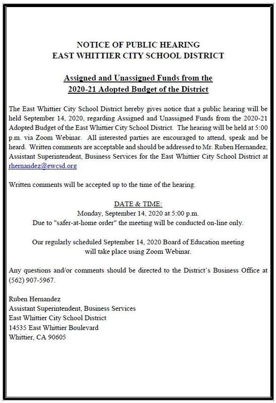 Screenshot of Public Hearing Notice for Assigned and Unassigned Funds.