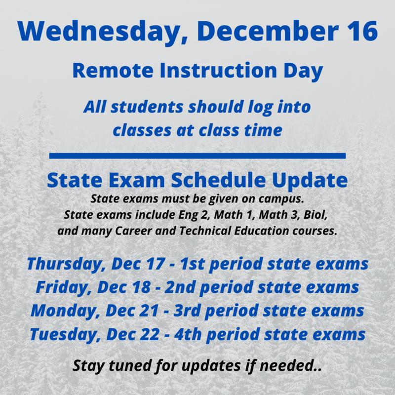 Altered Exam Schedule