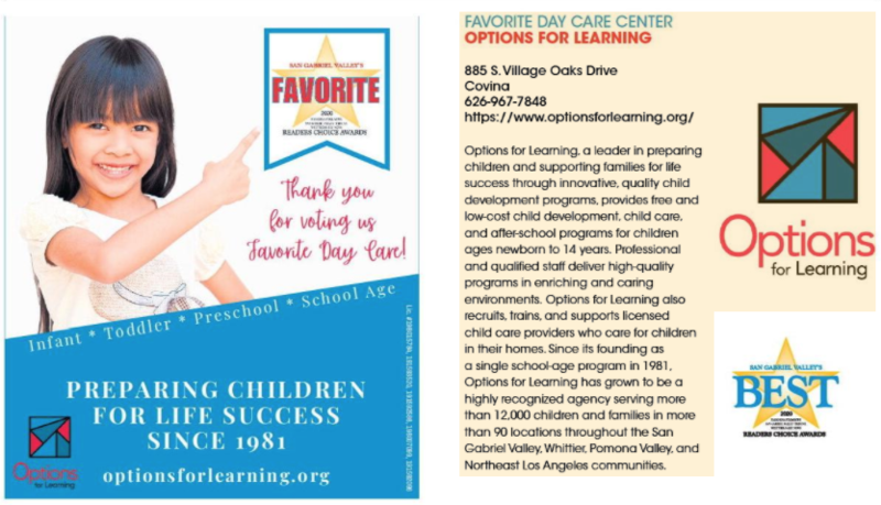 Options for Learning named San Gabriel Valley's favorite day care center Featured Photo