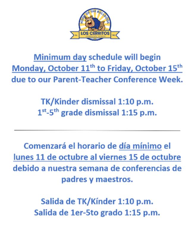 Minimum Day Dismissal October 11th-15th/Salida mínima del 11 al 15 de octubre Featured Photo