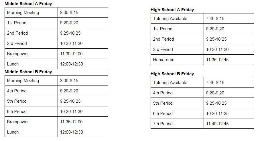 Secondary Schedule for Fridays