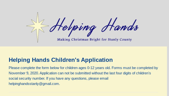 Holiday Assistance Sign Up- click on form to apply. Featured Photo