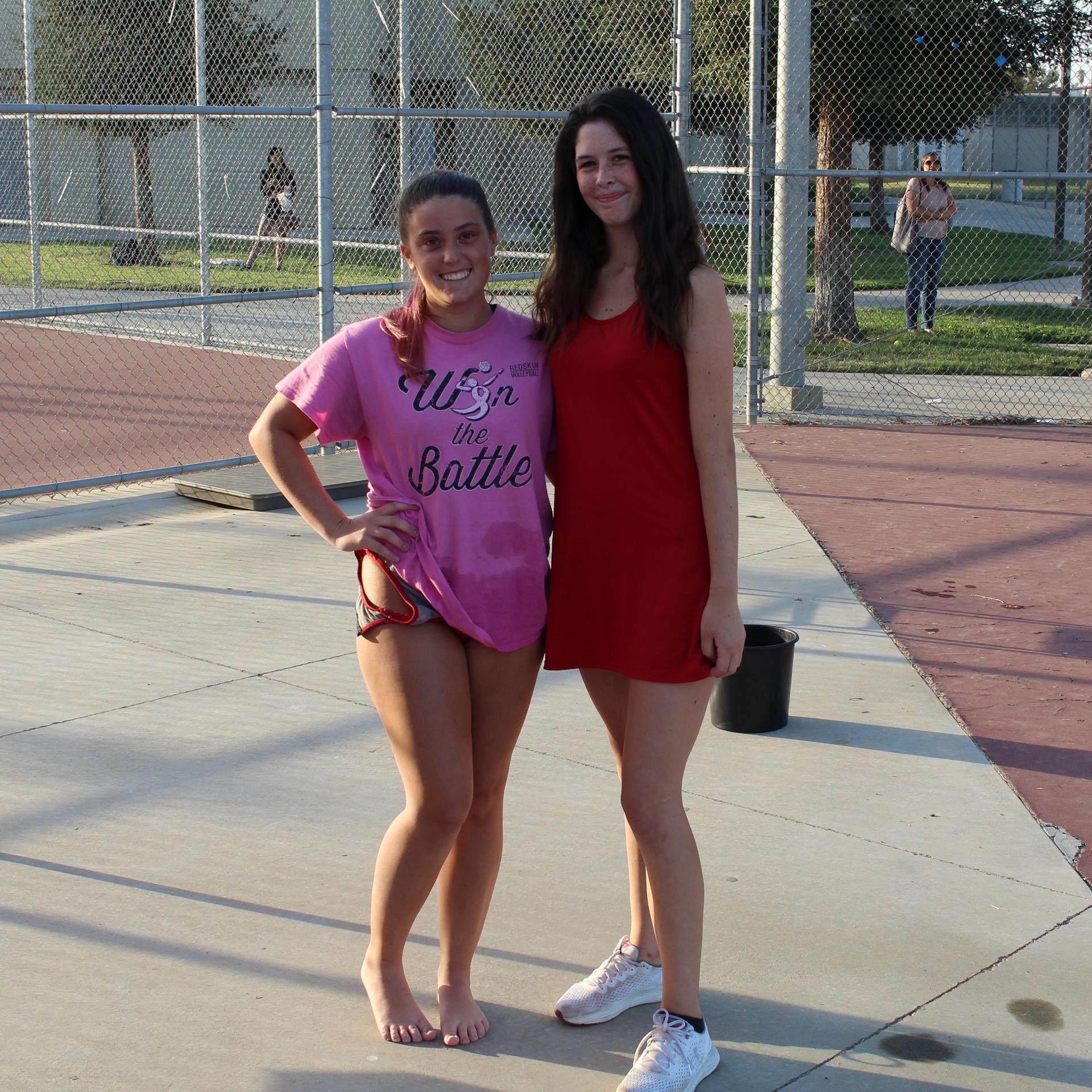 Saige Mandala and Juliana Smith posing for Senior Night.