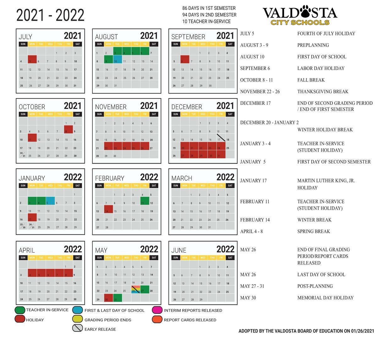 Uga Academic Calendar Fall 2022.Valdosta City School District