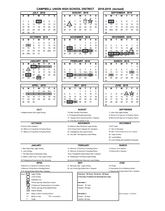 Calendario 2918.District Calendar Miscellaneous Campbell Union High