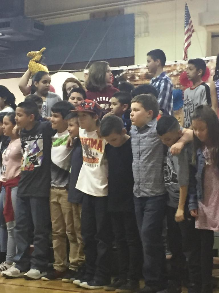 5th grade students at assembly