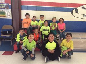 students in neon clothing.