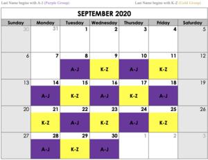 September Hybrid Schedule