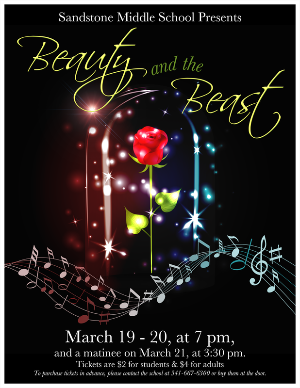 Beauty and the Beast flyer in English.