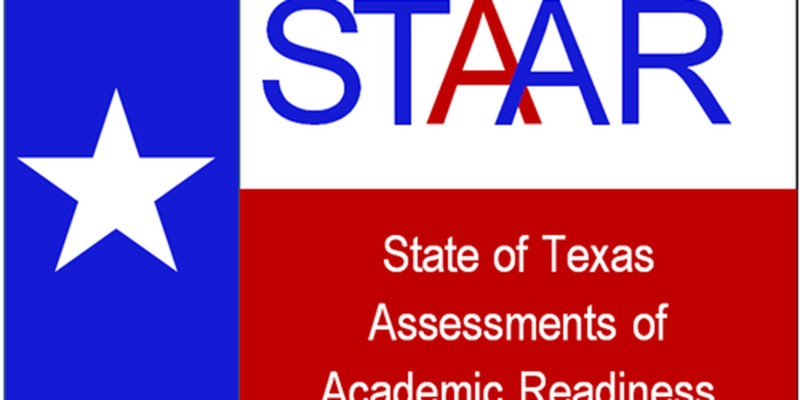 Texas flag with STAAR testing logo